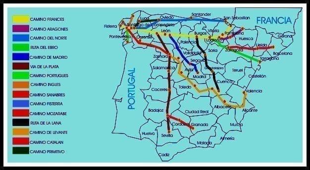 mapa de los diferentes caminos de santiago