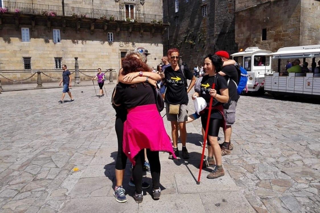 Camino Santiago grupo llegada a Santiago de Compostela