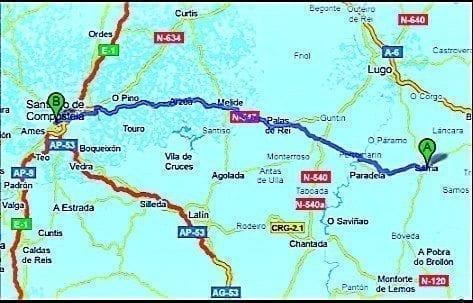 mapa camino de santiago desde sarria