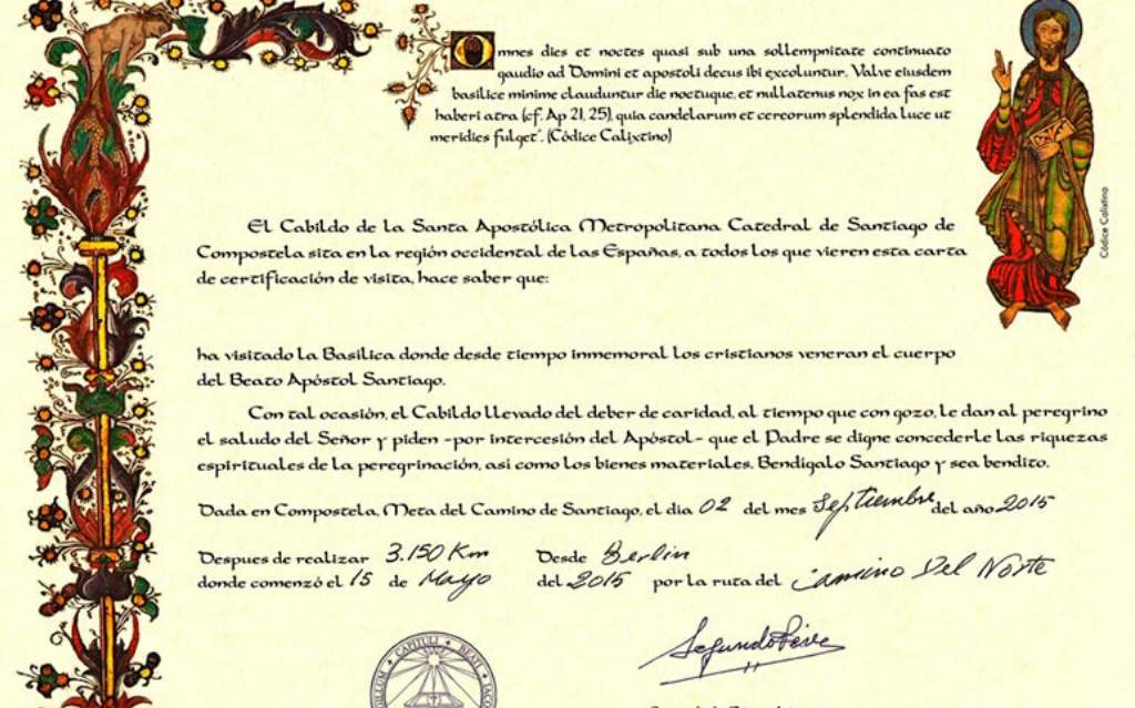 The Compostela ➤ Official Pilgrim's Certificate